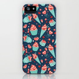 Valentine's sweets - Blue iPhone Case