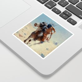 """William Leigh Western Art """"Indian Rider"""" Sticker"""