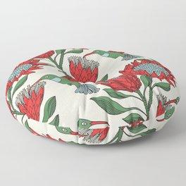 Protea with Hummingbird / Sunbird (Cream) Floor Pillow