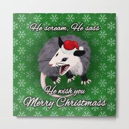 Christmas Opossum Metal Print