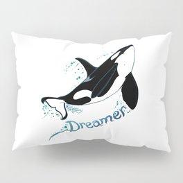 Dreamer Orca (Amber Marine, Indie Wildlife Artist Official Logo, Copyright 2015) Killer Whale Art Pillow Sham