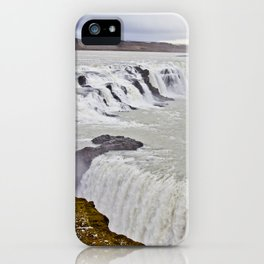 View of the Different Tiers of Gullfoss Waterfall in Iceland iPhone Case