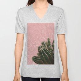 Cactus on Pink Sparkles Unisex V-Neck