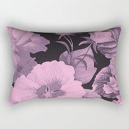 Pink florals on dark background vintage pattern Rectangular Pillow
