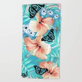 Tropical Spring Aqua Beach Towel