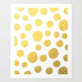 Gold Polka Art Art Print