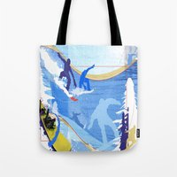snowboarding Tote Bags featuring Snowboarding by Robin Curtiss