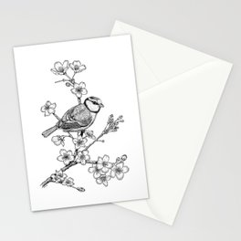 Parus with cherry blossoms Stationery Cards