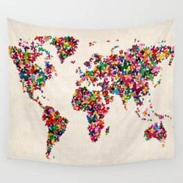Butterflies Map of the World Map Wall Tapestry