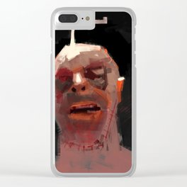 Head ache concept art close up face human stiches illustration painting Clear iPhone Case