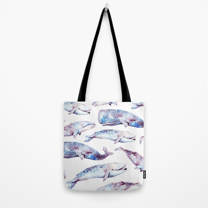 Watercolor Whales Tote Bag