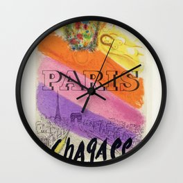 1950's Marc Chagall lithograph Paris, France Mourlot Exhibition Vintage Poster Wall Clock