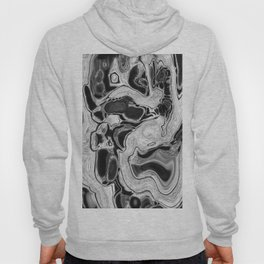 Black and White Digital Fluid Art Swirls and Cells Hoody