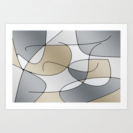 ABSTRACT CURVES #1 (Grays & Beiges) Art Print