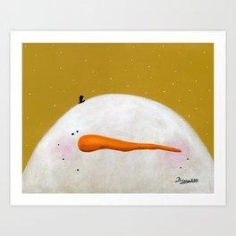 Peeking Snowman Caleb Art Print