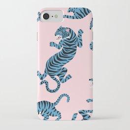 Pastel Pink & Blue Tiger Pattern iPhone Case
