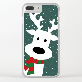 Reindeer in a snowy day (green) Clear iPhone Case
