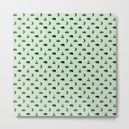 LET'S GO CAMPING, MINT Metal Print