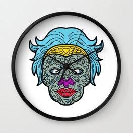 Female Calavera Sugar Skull Mono Line Wall Clock