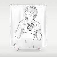 werewolf Shower Curtains featuring werewolf heart by Nikki Homicide