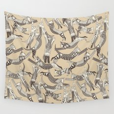 cat party beige natural Wall Tapestry