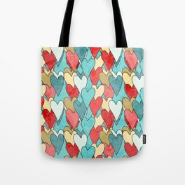 Grunge Pattern With Hearts Tote Bag