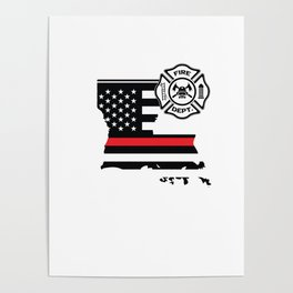 Louisiana Firefighter Shield Thin Red Line Flag Poster