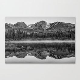 Rocky Mountain Park Mountain Landscape - Monochrome Reflections Canvas Print