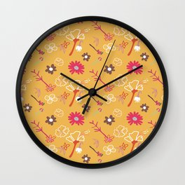 Orange Flower Repeat Wall Clock