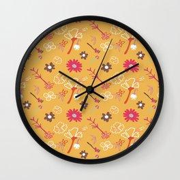 Orange Flower Repeat Wall Clock