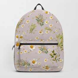 White Daisies Field Pattern Flowers Backpack