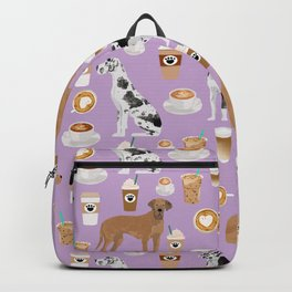 Great Dane coffee cafe dog breed pattern custom pet portrait Backpack