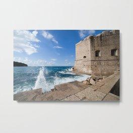 Medieval Walls Of Dubrovnik From Sea Pier Metal Print