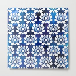 Waratah on blue watercolour Metal Print