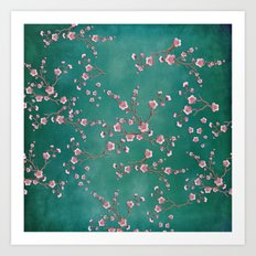 SAKURA LOVE - GREEN Art Print