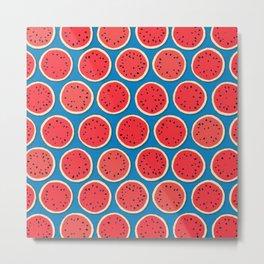 watermelon polka blue Metal Print