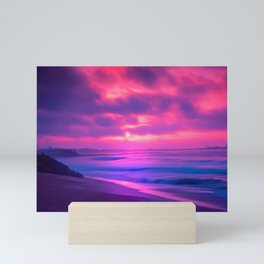 Rayleigh Scattering Beach | Painting  Mini Art Print