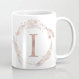 Letter I Rose Gold Pink Initial Monogram Coffee Mug