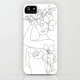 Minimal Line Art Woman with Flowers VI iPhone Case