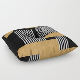 Stripes and Squares on Black Composition - Abstract Floor Pillow