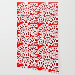 """DECORATIVE RED """"ROYAL FLUSH"""" IN RED HEARTS SUIT Wallpaper"""