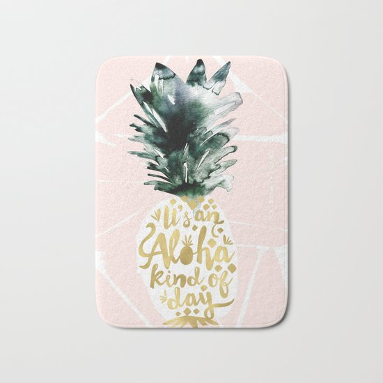 Pineapple Aloha Blush Bath Mat
