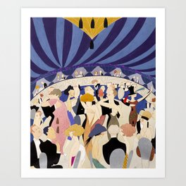 Dancing couples in jazz age nightclub Art Print