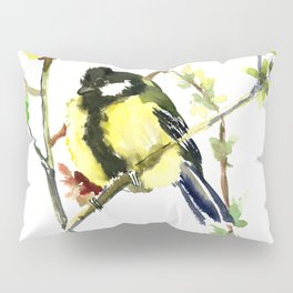 Spring nature colors,Bird art, great Tit, yellow spring bird Pillow Sham