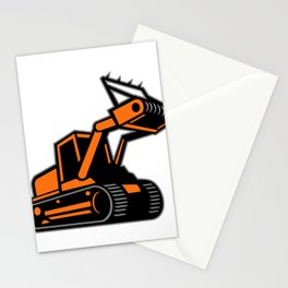 Tracked Mulching Tractor Icon Retro Stationery Cards