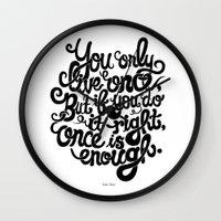 yolo Wall Clocks featuring Yolo by Rudi de Wet Studio