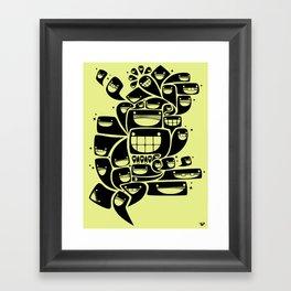 Happy Squiggles - 1-Bit Oddity - Black Version Framed Art Print