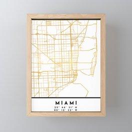 MIAMI FLORIDA CITY STREET MAP ART Framed Mini Art Print