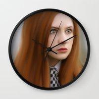 amy pond Wall Clocks featuring AMY POND  by Kayla Theodorou