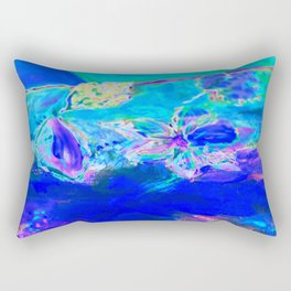 Tropical Electric Blue Abstract Digitally Enhanced Painting Photograph Rectangular Pillow